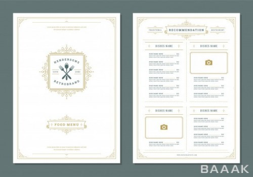 بروشور خلاقانه Restaurant menu design label vector brochure template