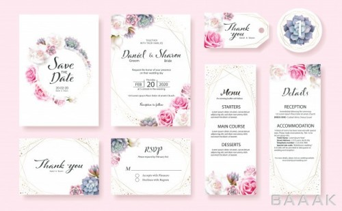 کارت دعوت جذاب Set wedding invitation card template rose flower succulent plants