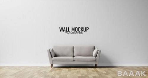 موکاپ دیوار داخلی به همراه مبل خاکستری