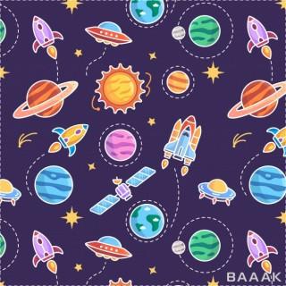 طرح الگوی یکپارچه با پس زمینه سیاره و فضاپیما