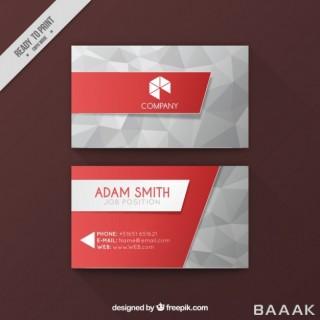 قالب کارت ویزیت کسب و کار با پس زمینه قرمز رنگ و اشکال چندضلعی
