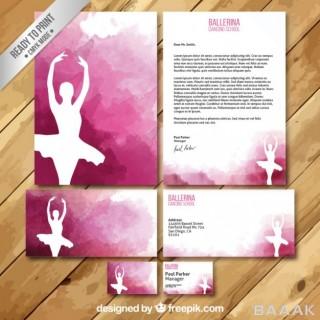 کارت ویزیت زیبا Ballerina watercolor business card letter