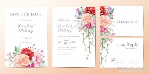 کارت دعوت زیبا و خاص Wedding invitation template set flowers bouquet