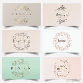 لوگو خاص و خلاقانه Feminine floral wreath logos
