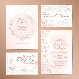 کارت دعوت مدرن و جذاب Set wedding invitation template with outlined stylish floral
