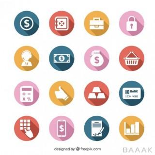 آیکون خاص و خلاقانه Colorful money icons set
