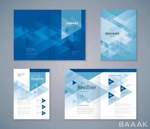 بروشور فوق العاده Cover book design set triangle background template brochures