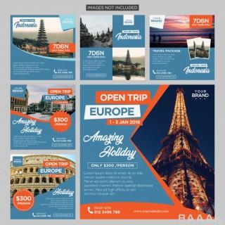 شبکه اجتماعی خاص و خلاقانه Travel trip social media post design template premium vector