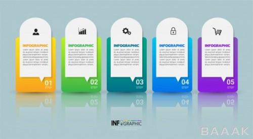 اینفوگرافیک مدرن Business infographics five steps template
