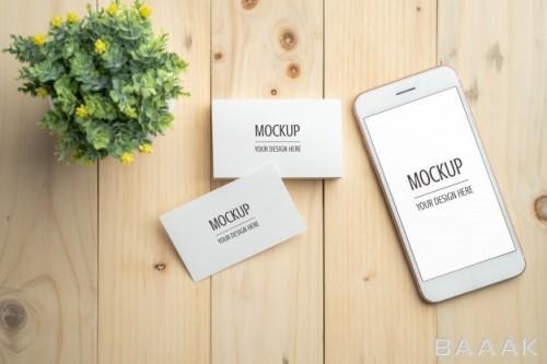 صفحه نمایش سیاه سفید تلفن هوشمند و موکاپ کارت ویزیت