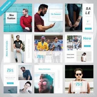 شبکه اجتماعی مدرن و جذاب Summer fashion social media post template
