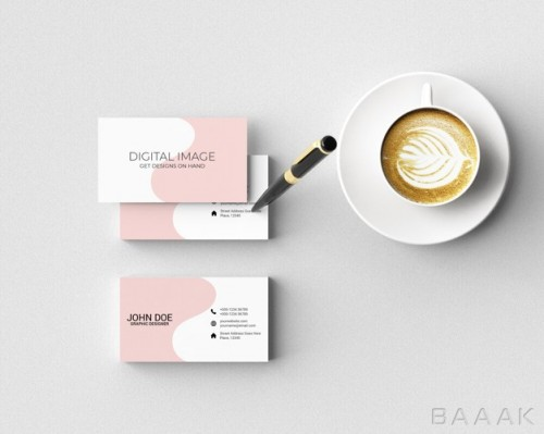 موکاپ کارت ویزیت با خودکار و قهوه