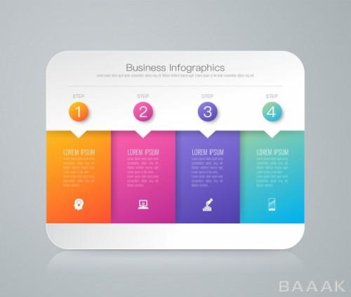 اینفوگرافیک خاص و مدرن 4 steps business infographic elements presentation