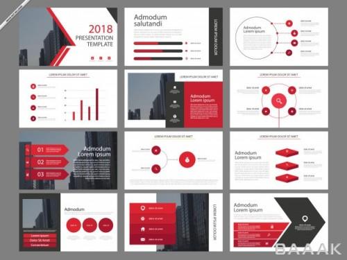 اینفوگرافیک خاص و مدرن Red infographic presentation templates