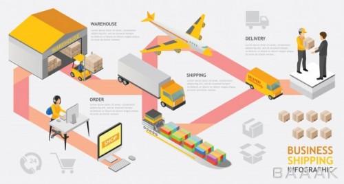 اینفوگرافیک مدرن و جذاب Infographic isometric shipping service vector design