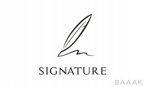 لوگو زیبا و خاص Quill signature logo design inspiration