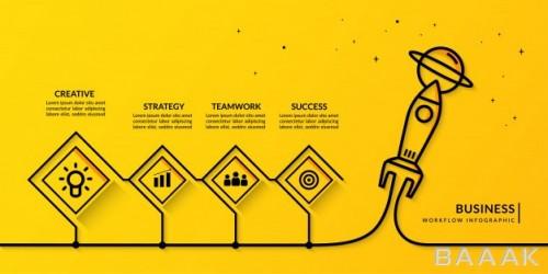 اینفوگرافیک پرکاربرد Business start up infographic with multiple options outline rocket launching workflow template