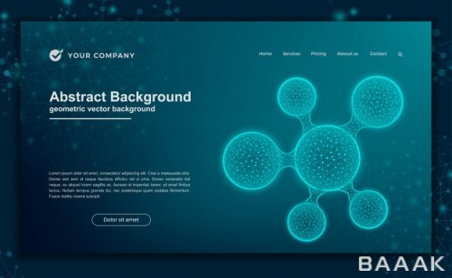 صفحه فرود خاص و خلاقانه Science futuristic background website design landing page