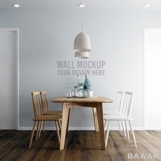 موکاپ میز و صندلی غذا خوری با پس زمینه کاغذ دیواری