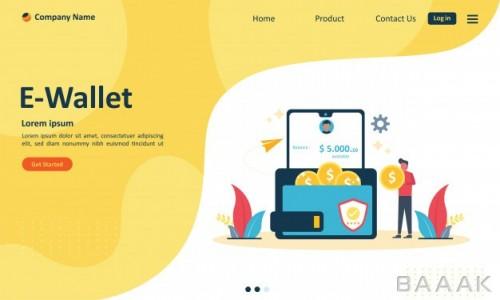 صفحه فرود زیبا Money transfer e wallet concept web landing page
