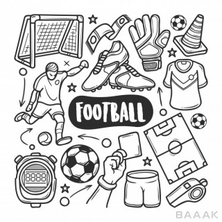 آیکون مدرن Football icons hand drawn doodle coloring