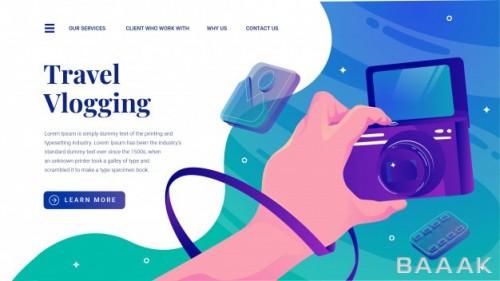 صفحه فرود مدرن Travel vlogging with flipped display camera website landing page