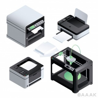 آیکون مدرن و جذاب Printer icon set isometric set printer