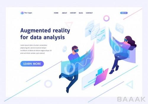 صفحه فرود زیبا و جذاب Isometric concept young people use augmented reality virtual glasses data analysis template landing page website