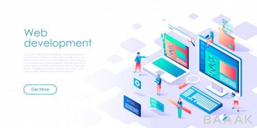 صفحه فرود خاص و مدرن Isometric landing page template web development