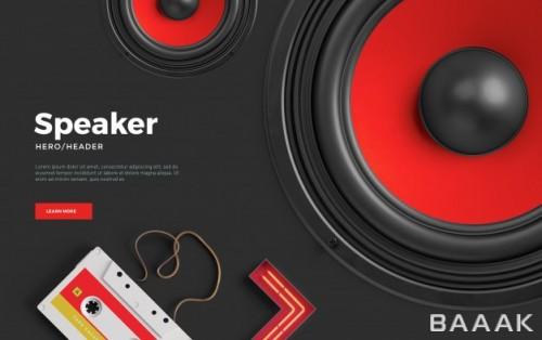 صفحه فرود باند های پخش کننده موسیقی با رنگ های قرمز و سیاه