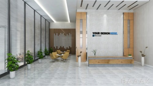 موکاپ دفتر تجاری از نمای رو به روی میز کار