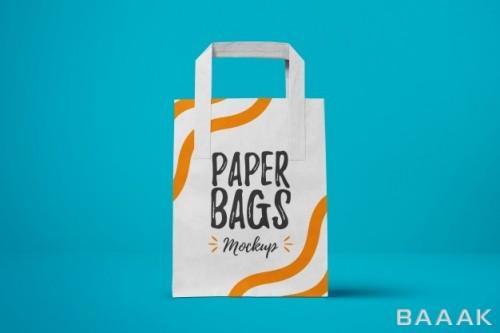 موکاپ کیف کاغذی خرید با پس زمینه آبی