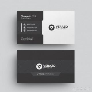 قالب مدرن کارت ویزیت افقی و سیاه و سفید