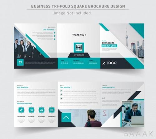 بروشور مدرن و جذاب Corporate square trifold brochure template