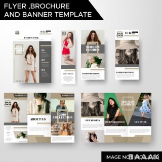 بروشور مدرن Creative fashion business flyer brochure banner template