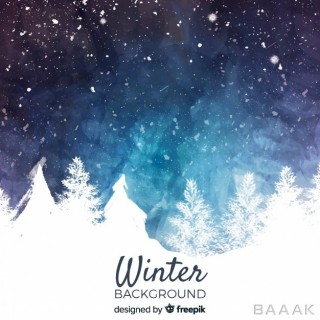 پس زمینه فوق العاده Watercolor winter landscape background
