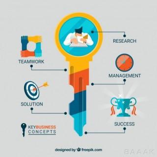 اینفوگرافیک فوق العاده Key business concept with infographic design