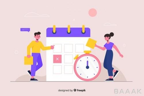 صفحه فرود مدرن و جذاب Time management concept landing page