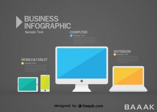 اینفوگرافیک پرکاربرد Infographic with computer laptop mobile phone tablet