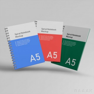 موکاپ زیبا و جذاب Premium three office hard cover spiral binder notebook mockups design templates flying front view