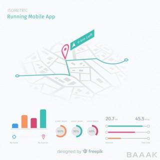 اینفوگرافیک جذاب Isometric running mobile app infographic