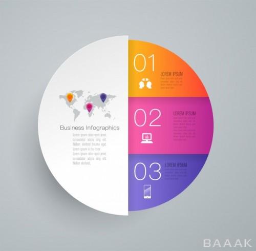 اینفوگرافیک زیبا و جذاب 3 steps business infographic elements presentation