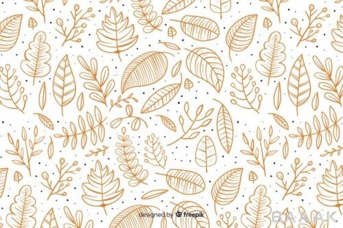 پس زمینه جذاب و مدرن Hand drawn autumn background with leaves