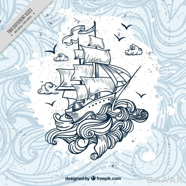 پس-زمینه-مدرن-و-خلاقانه-Hand-drawn-boat-with-waves-background_457829407