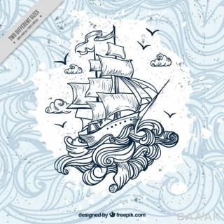 پس زمینه مدرن و خلاقانه Hand drawn boat with waves background