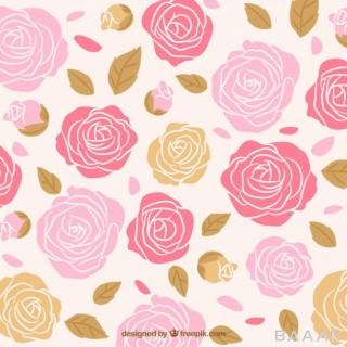 پس زمینه خاص و مدرن Hand drawn roses background with leaves