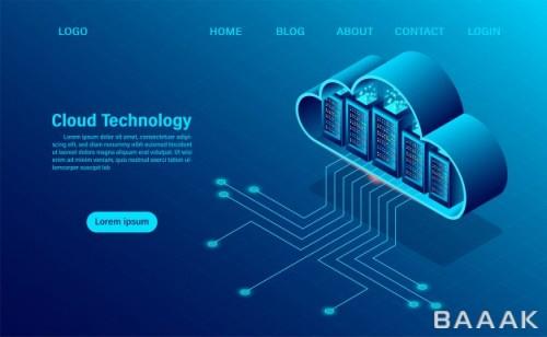 صفحه فرود زیبا و خاص Landing page with cloud computing concept online computing technology big data flow processing concept 3d servers datacenter isometric flat design