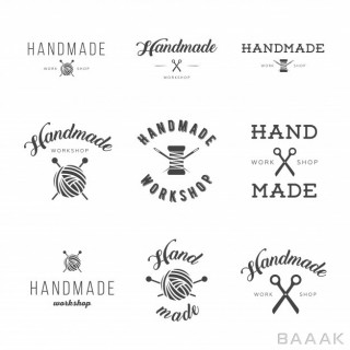 لوگو زیبا Handmade workshop logo vintage vector set