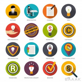آیکون جذاب و مدرن Patent idea protection icons
