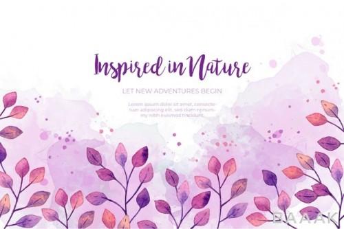 پس زمینه خلاقانه Watercolor purple leaves frame background